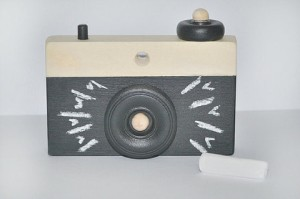 Fawn Over Baby- Black Chalkboard Wooden Camera $38