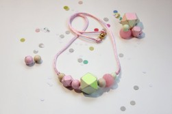 Rachel Rainbow- Pink and Yellow Geometric Cube Necklace $28