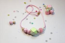 Rachel Rainbow- Pink and Yellow Geometric Cube Necklace $28