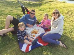 Family picnic pf fish and chips